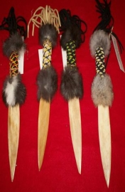 Beaded Deer bone Knives