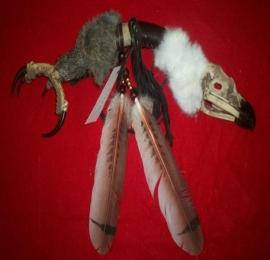 Eagle talon and skull medicine stick
